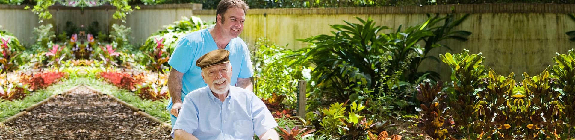 Caregiver caring the old man